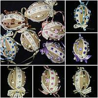 """Стильное украшение для корзины """"Яйцо с кружевом и лентами"""" ручной работы, 8-9 см., 85/78 (цена за 1 шт+ 7 гр.), фото 1"""