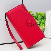 Красный женский стильный удобный кожаный кошелек клатч бумажник