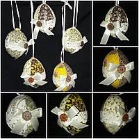 """Украшение для корзины """"Яйцо с кружевом и лентами"""",55/50, 6 см (разные цвета)(за 1 шт+5грн)"""