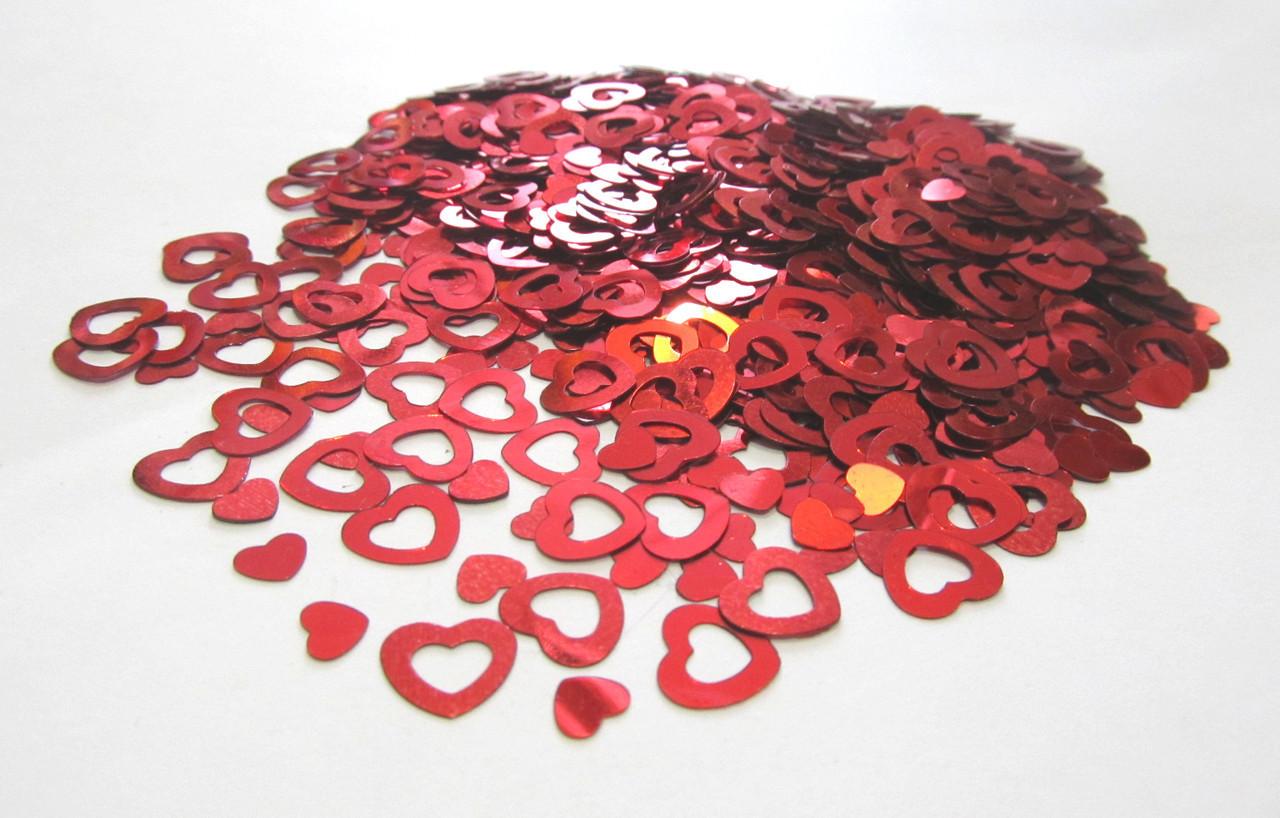 Конфетти Сердечки Красные, 1 см 250 грамм
