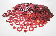 Конфетти Сердечки Красные, 1 см, 50 грамм