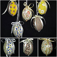 """Украшение для корзины """"Яйцо с  лентами"""", разные цвета, 9 см., 65/55 (цена за 1 шт. + 10 гр.), фото 1"""
