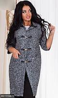 Модный женский жакет прямого фасона с карманам рукав три четверти букле батал