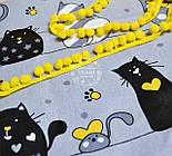 """Ткань хлопковая """"Мартовские коты"""" чёрно-жёлтые на сером фоне (№ 598), фото 2"""