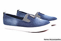 Мокасины женские Gelsomino текстиль цвет синий джинс (комфортные туфли, платформа)