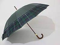 """Зонт-трость унисекс """"RST"""" 16 спиц однотонный с кантом клетки"""