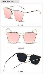 Очки солнцезащитные женские летние зеркальные розового цвета с металической оправой