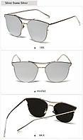 Очки солнцезащитные женские летние зеркальные серебряного цвета с металической оправой