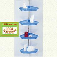 Полка угловая для ванной PrimaNova N17, прозрачно-голубая