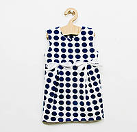 Летнее платье в синий горох для девочки