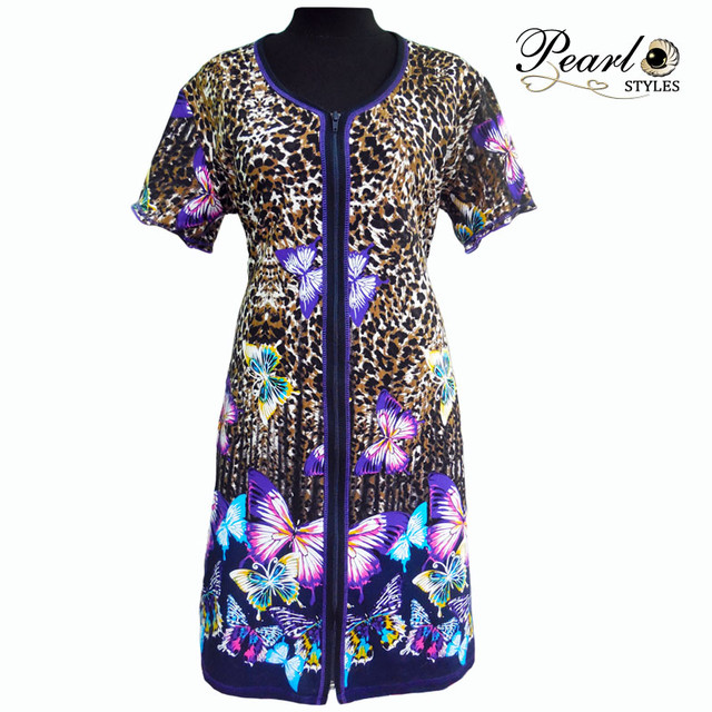 трикотажный женский халат тигровый