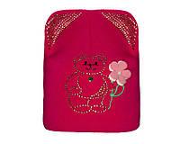 Детский комплект для девочки (шапка и снуд) Мишка с цветочком цвета в ассортименте