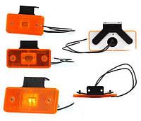 Габарит боковой светодиодный LED желтый с кронштейном (W17d)