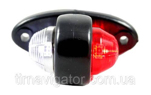 Габаритний-бічний ріг LED (прямий, біло-червоний) (LD465)