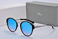 Солнцезащитные очки крулые Dior Sun голубые в черном