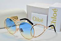 Солнцезащитные очки круглые Chloe голубые в золоте