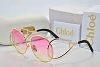 Солнцезащитные очки круглые Chloe розовые в золоте