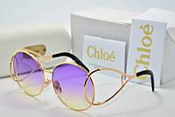 Солнцезащитные очки круглые Chloe фиолетовые в золоте