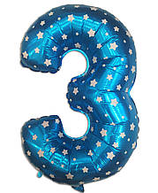 Фольгована цифра 3 блакитна з зірками, 75 см