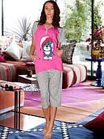 Пижама (футболка и капри) (Малиновый с серым, собачка)