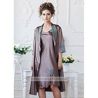 1066/17 Шелковая ночная рубашка с халатом Komilfo (Шоколад)
