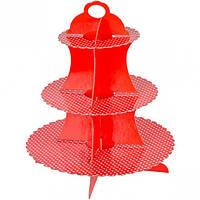Подставка для кексов 3  х ярусная красна… (арт.К-091106)