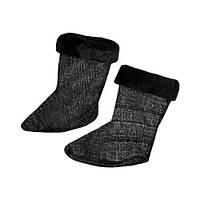 Вставка в обувь утепленные евро женская, чулок меховый в сапог, цвет черный