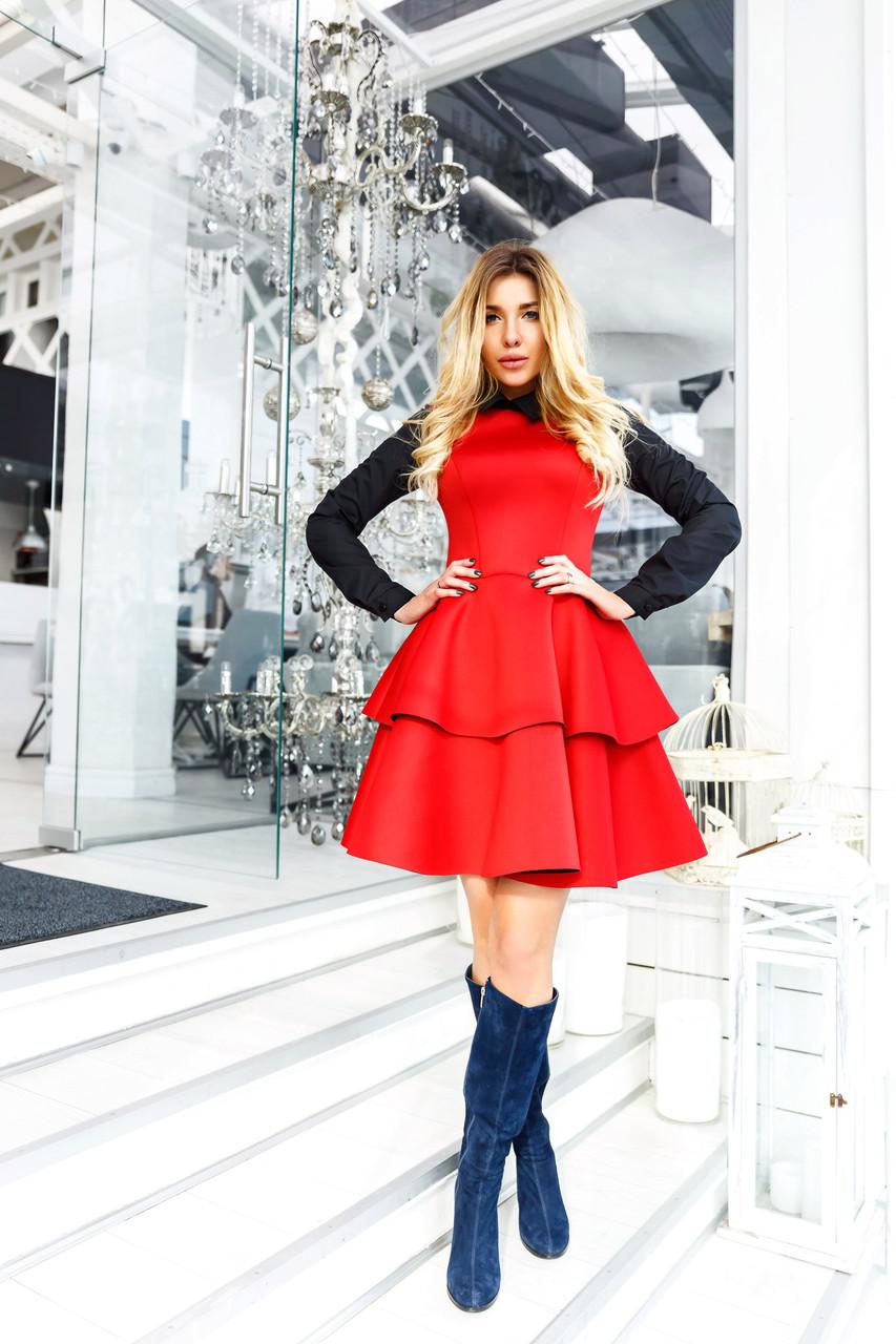 """Короткое приталенное платье неопрен """"Ellizium"""" с воротничком и длинным рукавом (3 цвета)"""