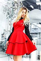 """Короткое приталенное платье неопрен """"Ellizium"""" с воротничком и длинным рукавом (3 цвета), фото 3"""