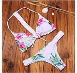 Белый купальник халтер с цветами, фото 2
