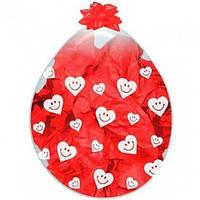 """Шар-Упаковщик 18"""" 45 см Смайлики сердечки кристалл прозрачный для упаковки подарков и цветов"""