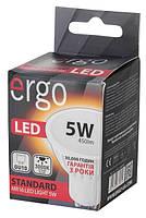 Светодиодная лампа ERGO, 5W, 3000K, тёплого свечения, MR16, цоколь - GU10, 3 года гарантии!!!