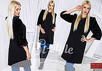 Черное женское пальто с меховыми рукавами