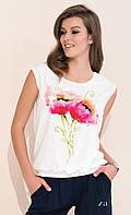Женская летняя блуза с цветочным рисунком, короткий рукав. Модель Mokka Zaps, коллекция весна-лето 2017.