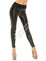 Модные женские лосины комбинированые кожа + ткань с карманами