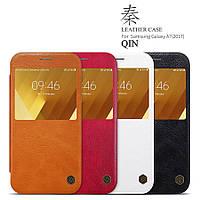 Кожаный чехол Nillkin Qin для Samsung Galaxy A7 2017 Duos SM-A720 (4 цвета)