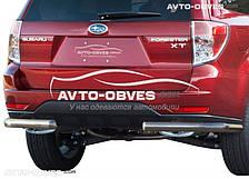 Защита заднего бампера на Subaru Forester, углы одинарные