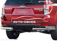 Защита заднего бампера на Subaru Forester, углы двойные (п.к. АК3)