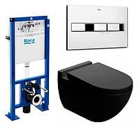 Унитаз NEWARC Modern (3823B) черный+инсталляция ROCA Pro (89009000K) + кнопка 890096001