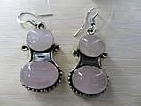 Серьги с розовым кварцем. Серьги с натуральным камнем розовый кварц в серебре. Индия!, фото 3