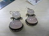 Серьги с розовым кварцем. Серьги с натуральным камнем розовый кварц в серебре. Индия!, фото 4