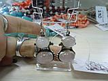Серьги с розовым кварцем. Серьги с натуральным камнем розовый кварц в серебре. Индия!, фото 2