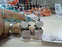 Серьги с розовым кварцем. Серьги с натуральным камнем розовый кварц в серебре. Индия!, фото 1