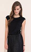 Летняя блузка из вискозы черного цвета с коротким рукавом. Модель Vivian Zaps, коллекция весна-лето 2017.
