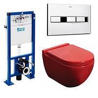 Унитаз NEWARC Modern (3823R) красный+инсталляция ROCA Pro (89009000K) + кнопка 890096001
