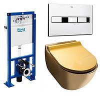 Унитаз NEWARC Modern (3823G) золотой+инсталляция ROCA Pro (89009000K) + кнопка 890096001
