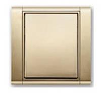 Выключатель одноклавишный проходной + рамка. Титан/Титан. ABB Time
