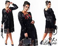 Черное бархатное платье больших размеров. Арт-2108/21