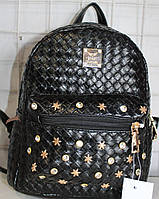 Ранец Рюкзак Стильный Плитение Искусственная Экко-кожа  с камнями  K 17-501-19
