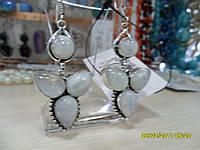 Серьги с натуральным лунным камнем в серебре. Индия!